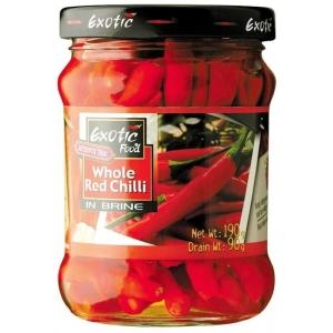 Červené chilli papričky ve sl. nálevu Exotic Food  12 x 190 g